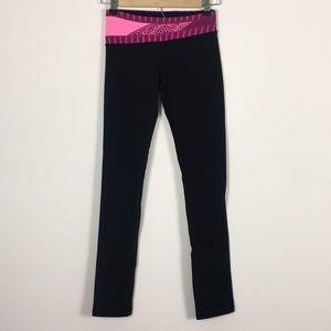 Ivivva Black Pink Waistband Reversible Leggings